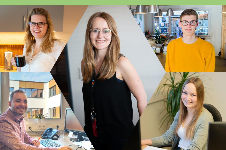 Collage von fünf Mitarbeiter*innen
